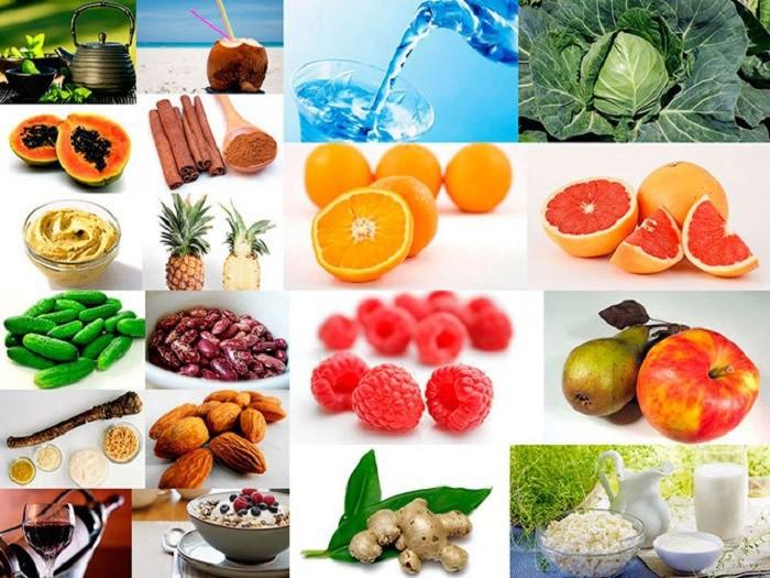 На фото рекомендованные продукты для сжигания жира