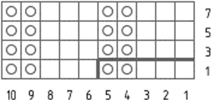 Схема вязания резинки 3х2