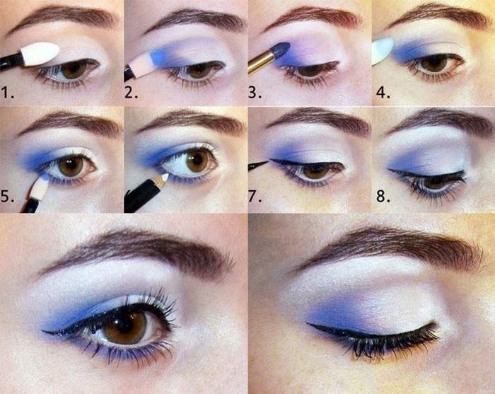 Голубой макияж пошаговое для карих глаз