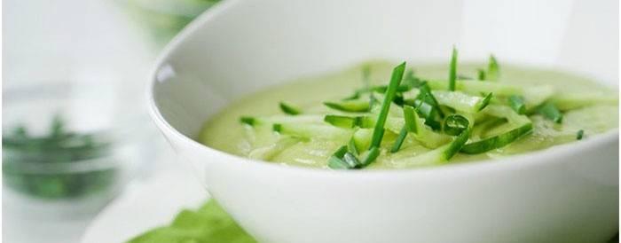 Холодный суп из огурцов для дробной порции