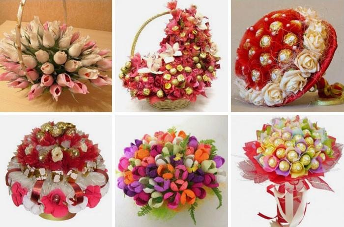 4049543-3 Делаем цветы из конфет и гофрированной бумаги