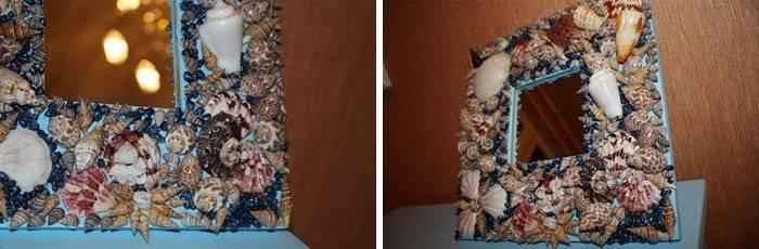 Рамка для фотографий, украшенная ракушками