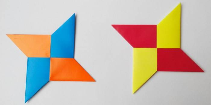 Разноцветные сюрикены из бумаги