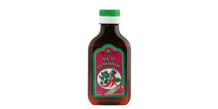 Репейное масло с красным перцем в бутылке