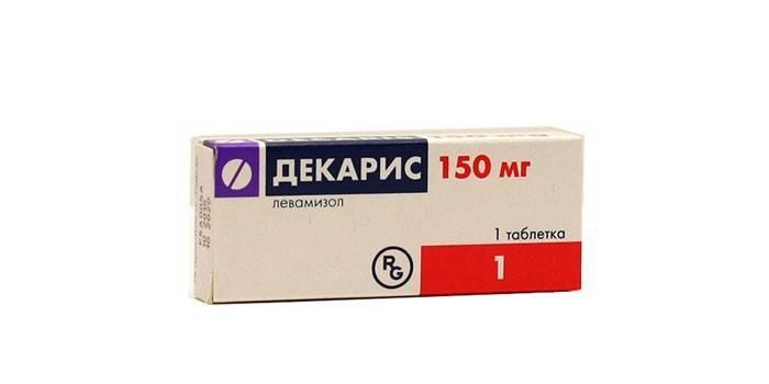 Таблетки Декарис в упаковке