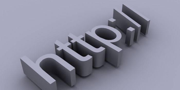 Объемная надпись аббревиатуры передачи гипертекста
