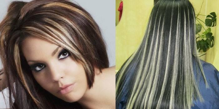 Мелирование блондом на темных волосах разной длины