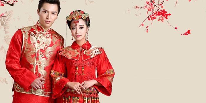 Девушка и парень в китайских народных костюмах