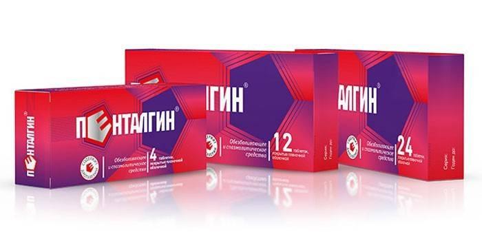 Таблетки Пенталгин в упаковках