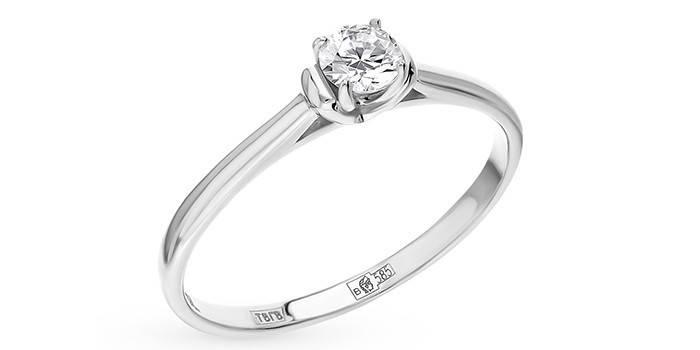 Кольцо из белого золота с бриллиантом от SUNLIGHT
