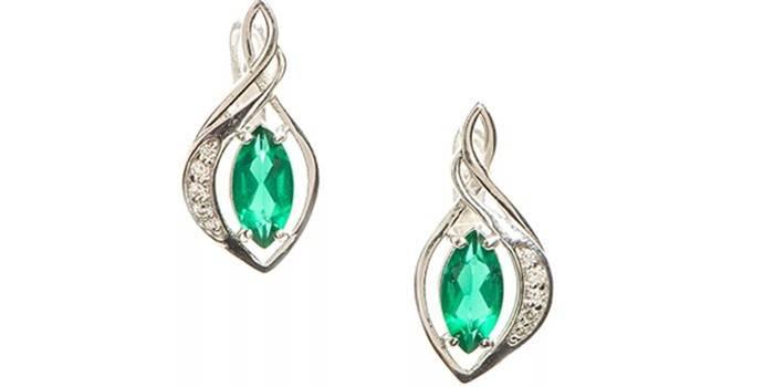 Серебряные сережки с изумрудами и фианитами, BALEX, артикул 2928688