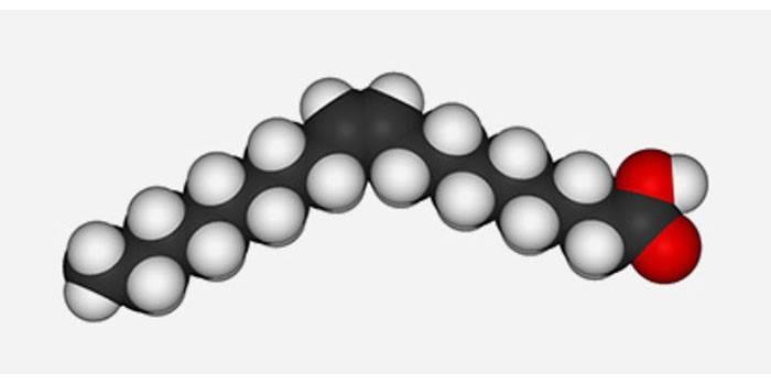 Схема молекулы олеиновой кислоты