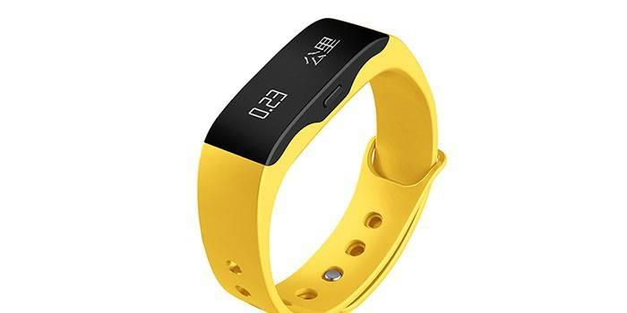 Желтый фитнес-браслет с  шагомером, секундомером, пульсомером