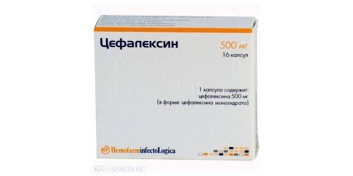 Капсулы Цефалексин в упаковке
