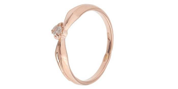 Серебряное кольцо с позолотой и небольшим бриллиантом от KAINOS
