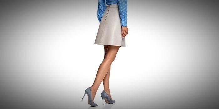 Светло-серая юбка-трапеция