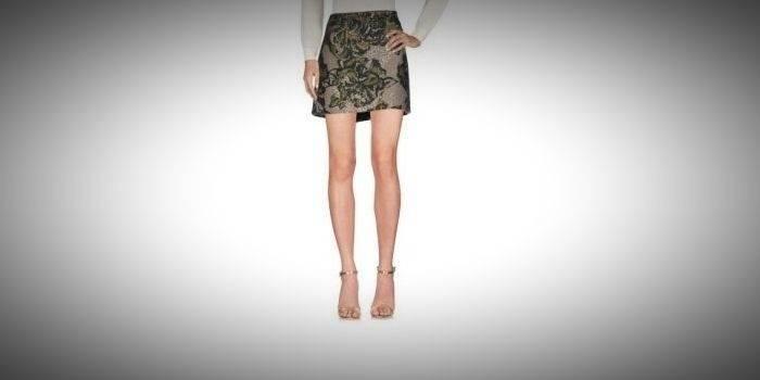Серая юбка с цветочным принтом