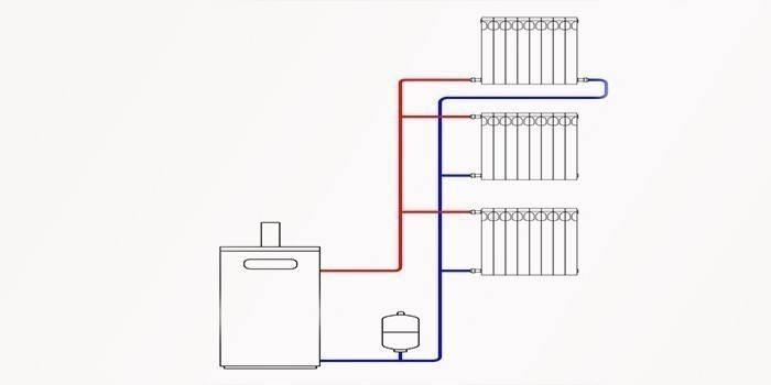 Схема вертикальной двухконтурной системы отопления