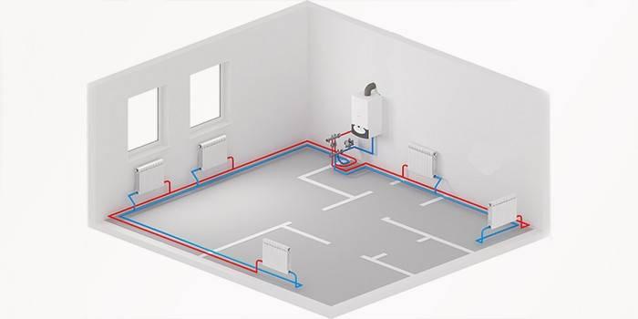 Схема двухконтурной системы отопления с нижней разводкой