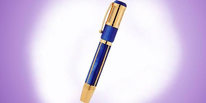 Перьевая ручка синяя с золотом Ancora classic-blue-fp